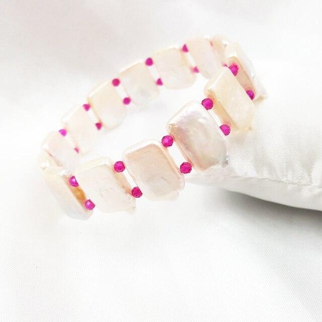 LiiJi Unique Rubys &Baroque Pearl Elastic Bracelet