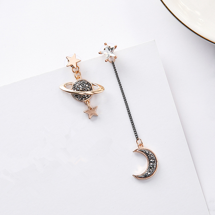 2017 New Design Asymmetric Earrings For Women Trendy Bijoux Rhinestone Moon Star Planet Pendientes Hot Christmas Gifts