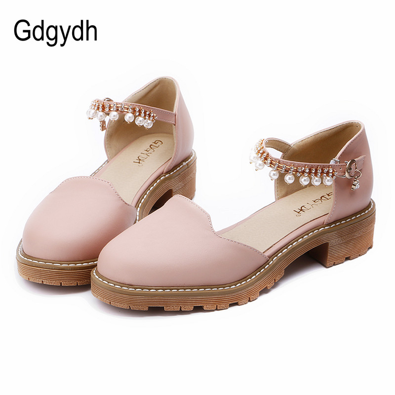 Gdgydh 2017 New Summer Women Sandals Round Toe Square Heels 4cm Female Single Shoes Rhinestone Mary Janes Ladies Shoes Big Size gdgydh hot sales 2017 summer women sandals round toe cut outs shallow mouth female square high heels summer shoes plus size 43