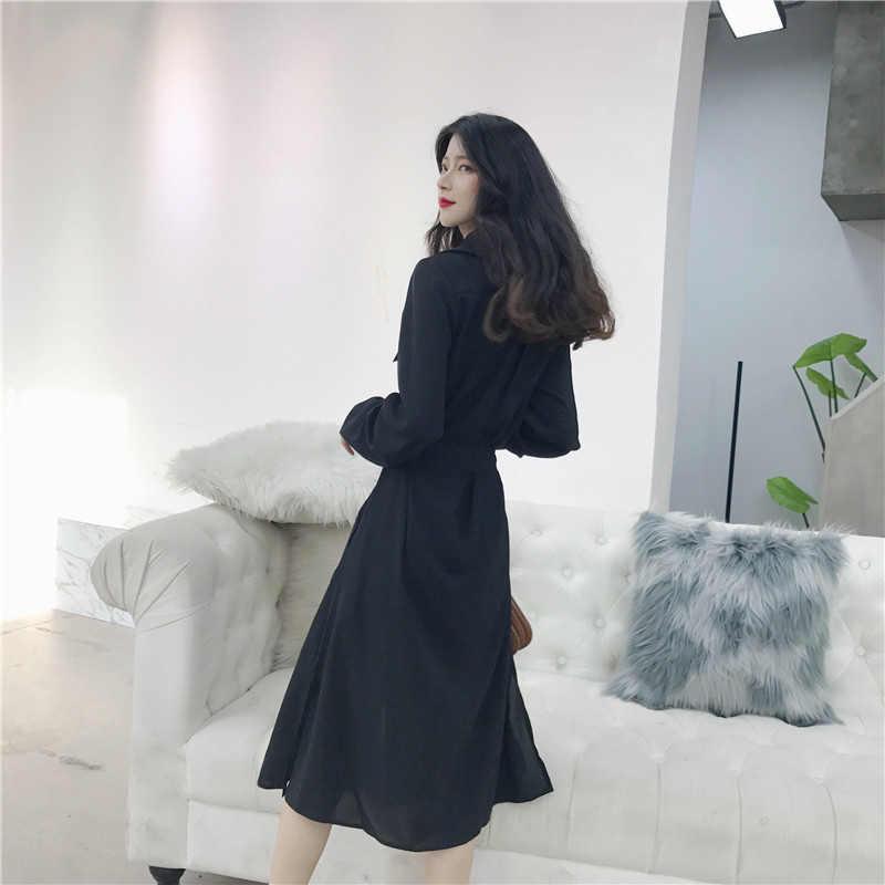 2019 весеннее женское Новое повседневное шикарное аккуратное платье с разрезом сбоку, длинное платье с разрезом на талии, тонкое женское платье большого размера