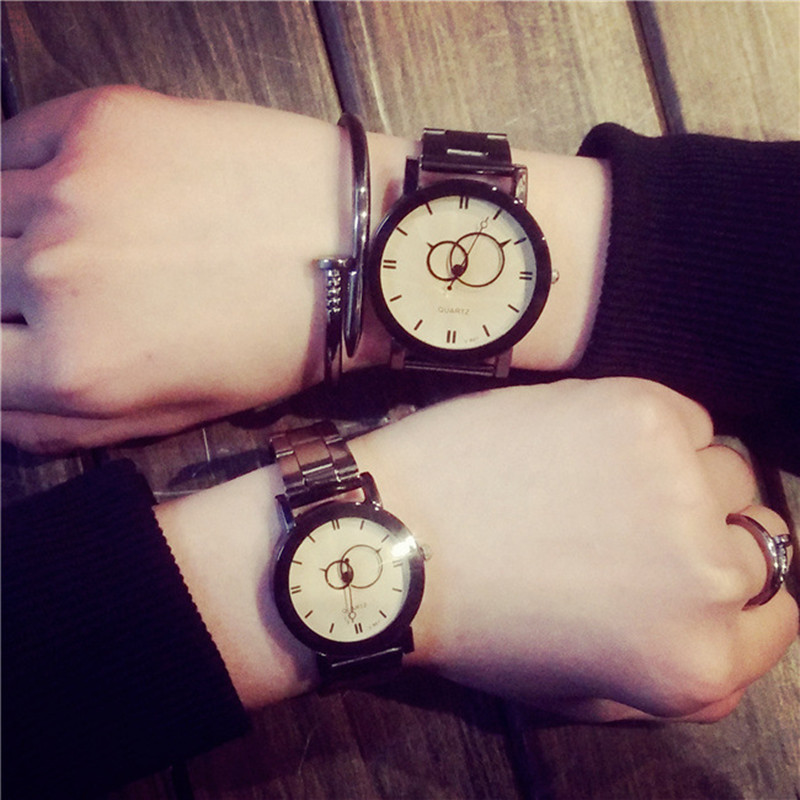 LinTimes Women Men Wristwatches Fashion Simple Vintage Style Steel Band Lovers Quartz Watches For Valentine's Day