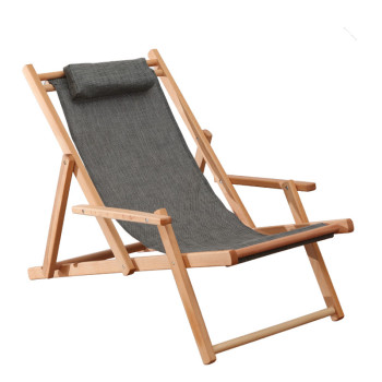 Adjustable Sling Chair Natural Beech Wood Frame Portable Patio Wooden Beach Folding Adjustable Chair Outdoor Chaise Lounger patio wicker chaise lounge white poolside balcony lounger transport by sea