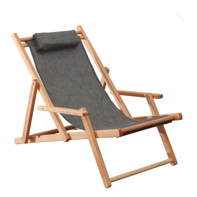 Adjule Sling Chair Natural Beech Wood Frame Portable Patio Wooden Beach Folding Outdoor Chaise Lounger