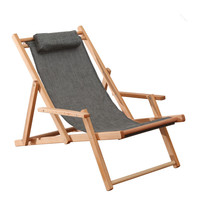 Adjustable Sling Chair Natural Beech Wood Frame Portable Patio Wooden Beach Folding Adjustable Chair Outdoor Chaise Lounger