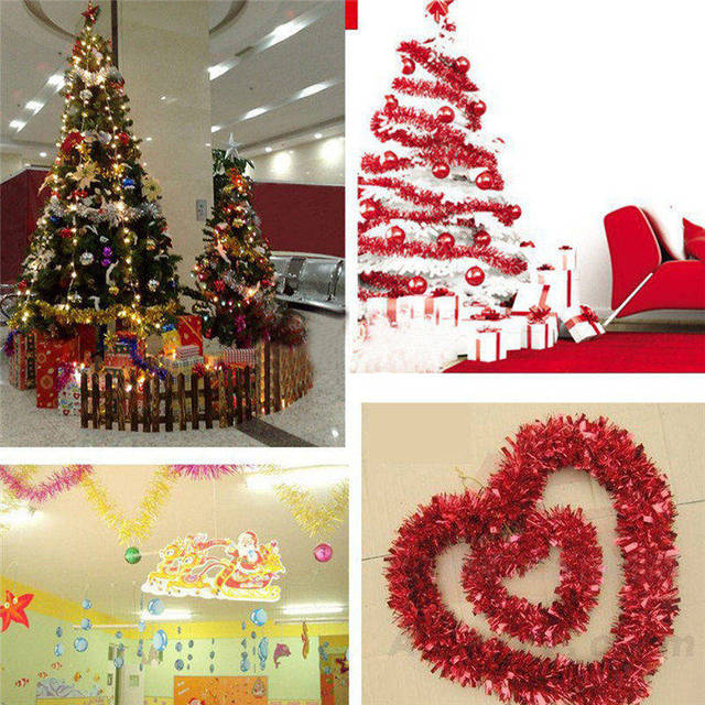 Us 0 76 17 Off 2 Meter Christmas Xmas Tree Party Tinsel Rose Pink Green Silver Gold Red Blue Decorations In Pendant Drop Ornaments From Home