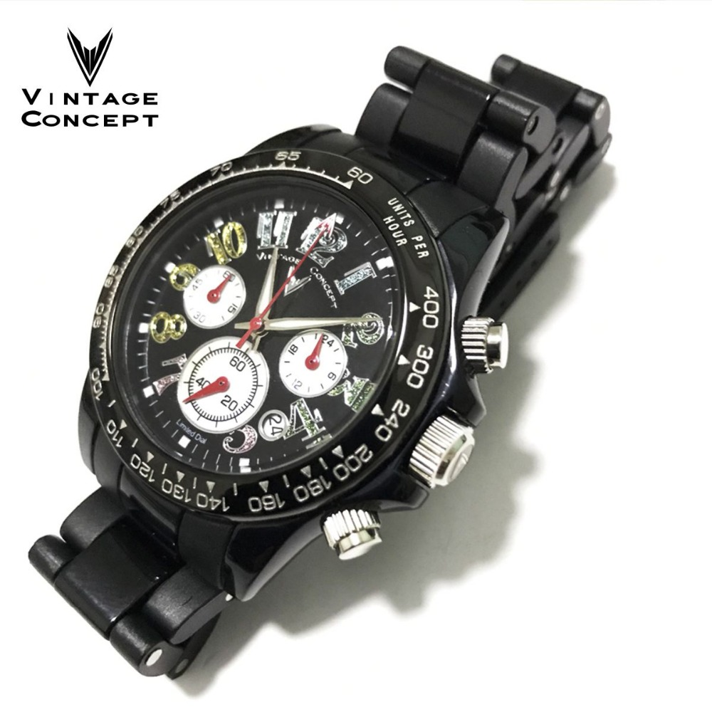 Vintage Concept Fashion Women Quartz Chronograph Watch Plastic Case Watch 50m Water Resistant Fixed Bezel Lady Femme Wristwatch