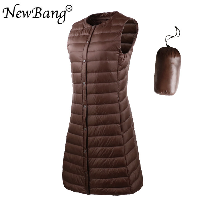 NewBang 3XL Ultra Light Down Women's Vest Sleeveless White Duck Down Vest Women Long Warm Vests Windproof