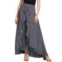 New Women Fashion Casual High Waist Asymmetric Hem Flouncing Wide Leg Pants Boho Trousers Dress With Belt