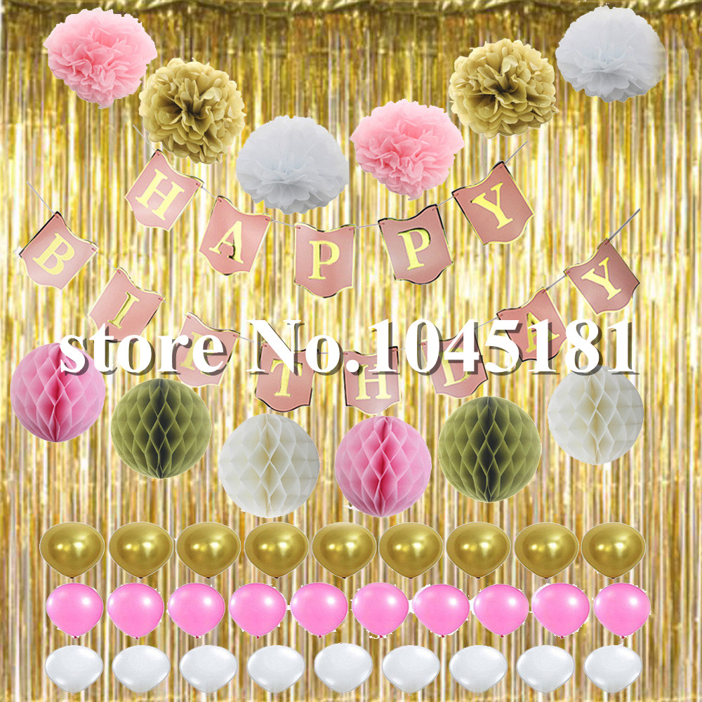 50set Happy Birthday Banner Party Decoration Supplies Gold Foil ...