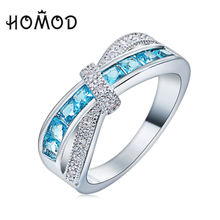 HOMOD Light Blue Cross Ring Fashion White & Black Gold Filled Jewelry Vintage Wedding Rings For Women Birthday Stone Gifts