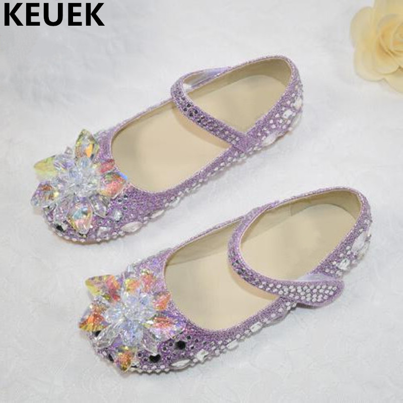 NEW Girls Crystal Shoes Flat Fashion Glass Rhinestone Girls Leather Shoes Children Toddler Baby Princess Kids Dance Shoes 04