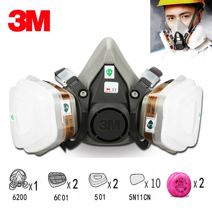17in1 3M 6200 Half Facepiece Respirator Painting Spraying 17in1 Gas Mask Safety Work Filter Dust Mask 15 in 1 suit painting spraying 3m 6200 half face gas mask respirator chemcial industry anti dust work respirator mask