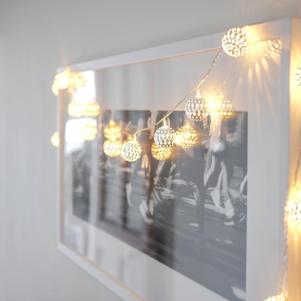 3 Mt 30 Lichter Metall Fee Licht Mit Silber Eisenkugel Ambiente