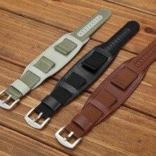 18mm 20mm 22mm 24mm 2in1 Nylon + Leather Watch Band Wrist Strap Watchband Wristwatch Bracelet Black Brwon Green for Man Woman цена