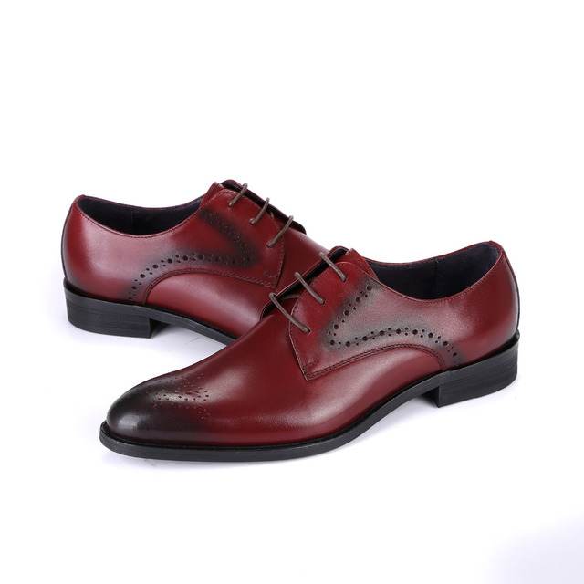 2017 Latest Men S Shoes Genuine Leather Lace Up Dress Office Derby Brogue Wedding Party Basic