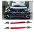 Silver Red Adjustable Front Rear Frame Bumper Lip Protector Rod Splitter Strut Tie Bar Support Kit Universal Stainless Steel