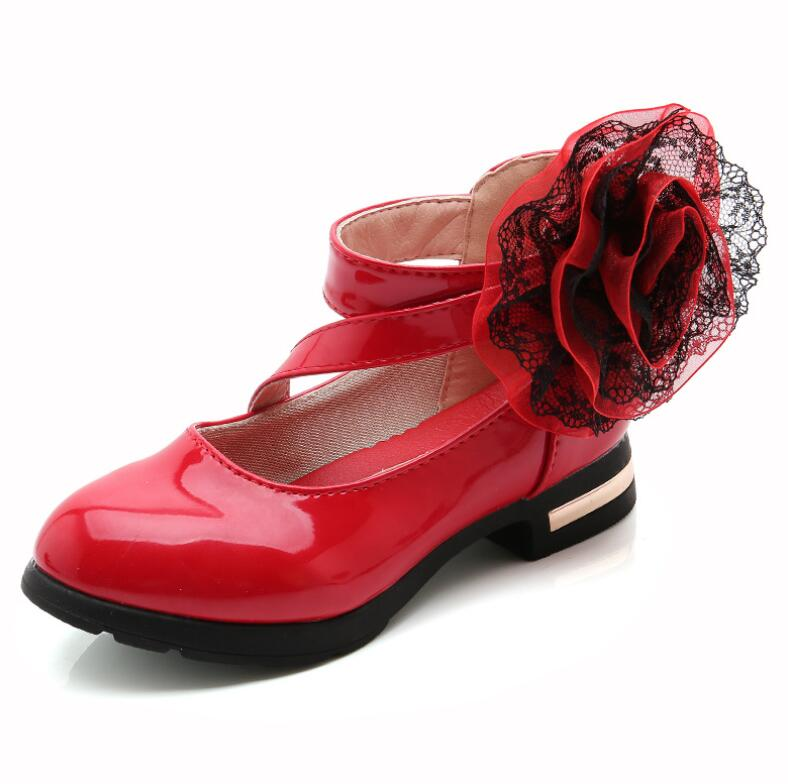 New baby Party shoes 2018 fashion spring flowers childrens dresss leather shoes Girls princess shoes Dancing shoes