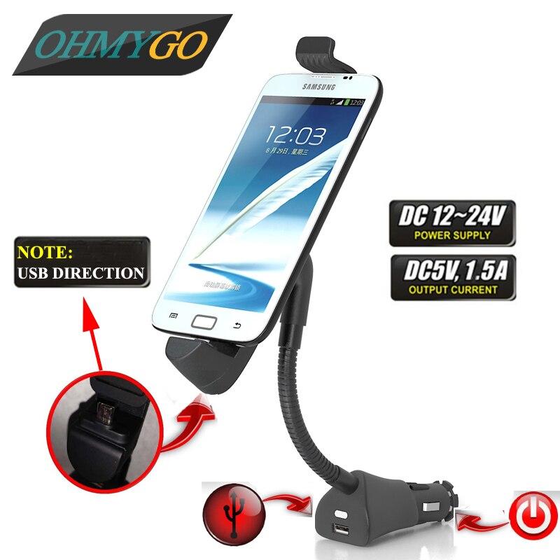 imágenes para Sostenedor del teléfono del coche universal usb cargador de encendedor de cigarrillos del vehículo soporte de montaje para Samsung Galaxy S2 S3 S4 S5 S6 Lenovo P6