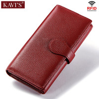 KAVIS Rfid Genuine Leather Women Wallet Female and Purses Red Color Long Clutch Lady Vallet Portomonee Fashion Money Bag Handy