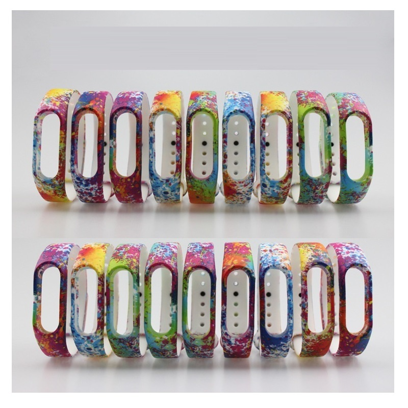 Silicone Straps for Xiaomi mi band 2 Strap miband 2 Strap Watchbands Colorful Splash Flower Soft Rubber Gel Skin Bands Cover original xiaomi steel net watch band for miband
