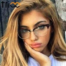 TRIOO Semi-Sin Montura Gafas Hembra Marco Negro Gafas de sol mujer Retro Con Estilo Nuevo Trending Eyewear Óptico gafas de sol