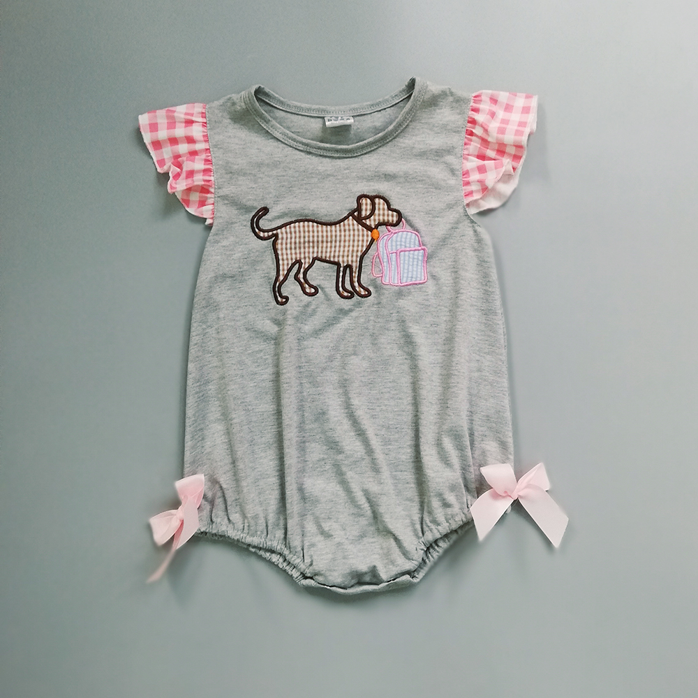 Baby   Rompers   CONICE NINI free shipping Hot Gray Colors Cotton Bunny Clothes Infant Children Embroidered dog petal sleeve