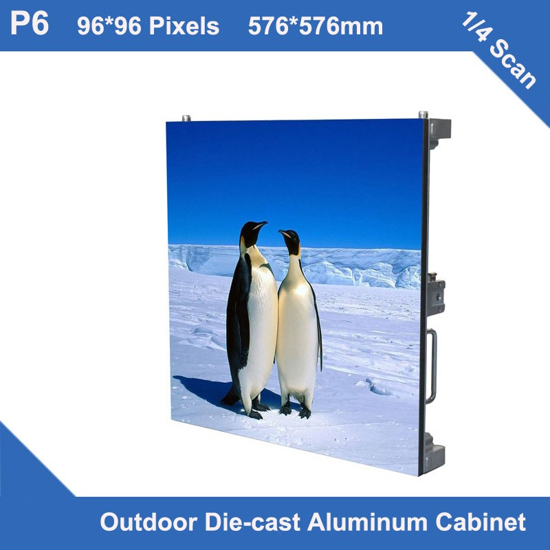 TEEHO 6pcs/lot Video P6 Led Display Outdoor Diecasting Cabinet 576mm*576mm THIN 1/4 Scan Led Display Module Screen Led Panel