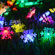20/30 LED Snowflake Shaped Led Solar Light for Outdoor Garden Christmas Tree Decorations New Year's Day Lighting String HG-45 цена