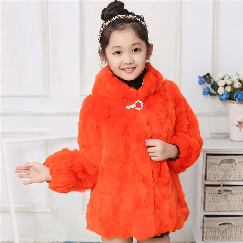 2017 New Children Real Rabbit Fur Coat Winter Girls Warm Thick Short Outerwear Fur Clothing Kids Solid V-Neck Short Coats C#24 winter kids rex rabbit fur coats children warm girls rabbit fur jackets fashion thick outerwear clothes