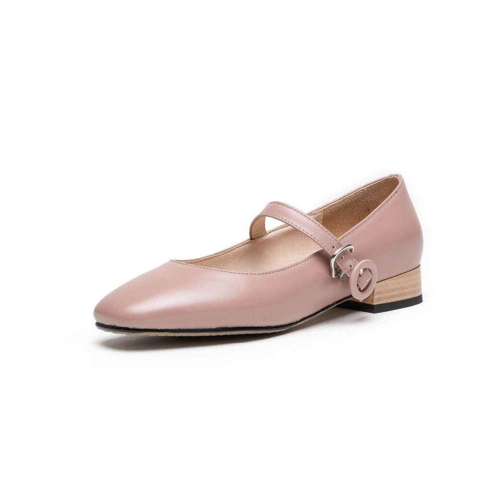 Frauen rosa Neue Schuhe Karree Pumpen Stil Fee amp; Leder Fersen Echtes Beige black Ankunft Clubwear 2019 Prinzessin Schnalle Concise L24 Schwarzes Niedrigen gdUYZUnS