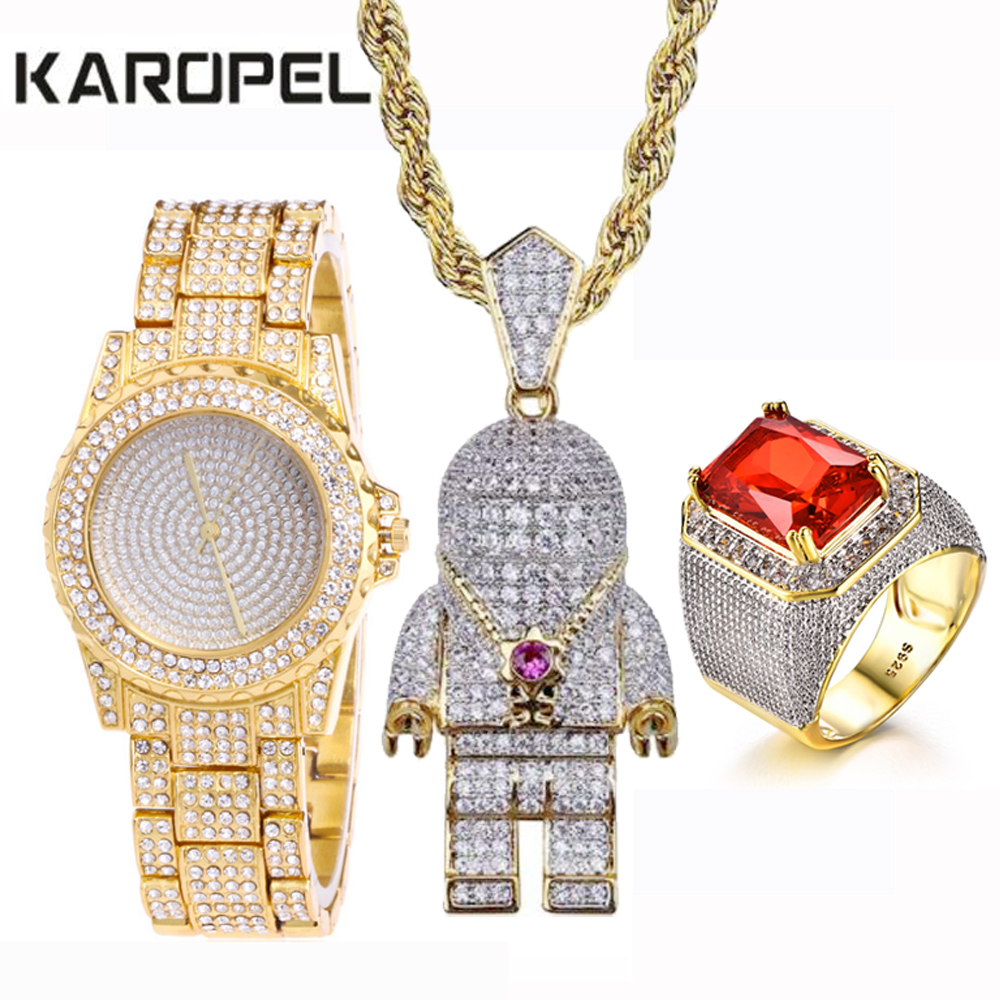 Men Hip Hop Iced Out Gold PT Lab Zircon Watch & Ruby Ring & Astronaut Spaceman Pendant Combo Set