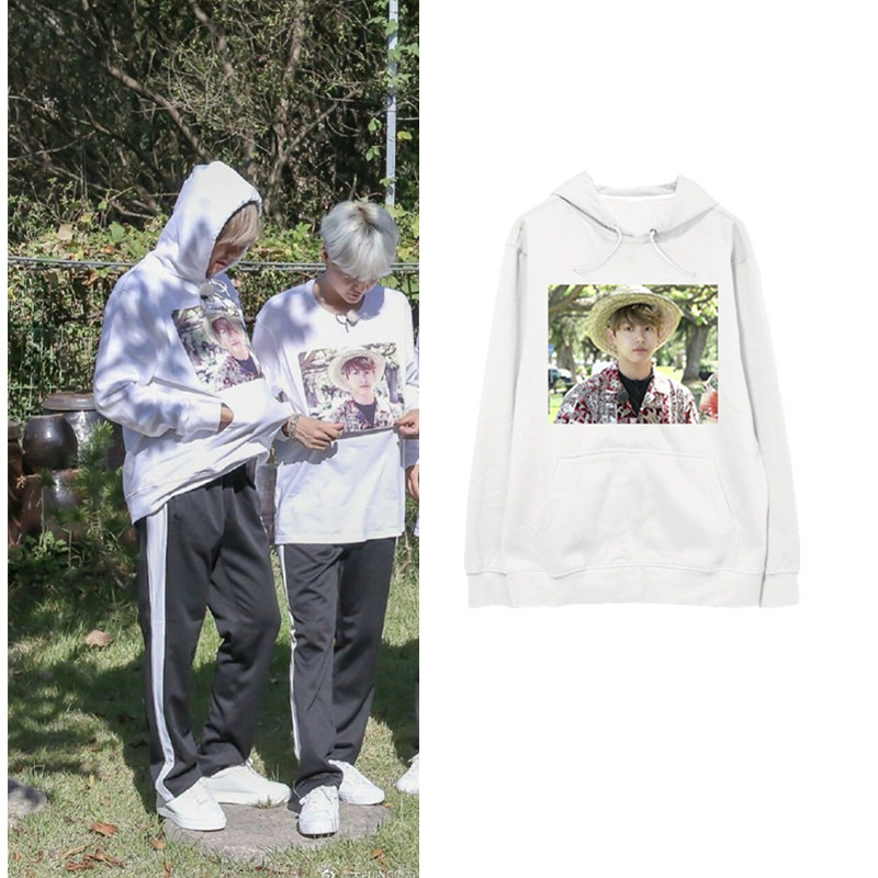 New kpop BTS Bangtan Boys V Jungkook The Same Around hoodie Loose Long sleeved Hoodie Round Neck Shirt bts taehyung warriors