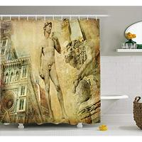 Vixm Italy Shower Curtain Ancient Florence Art Collage Michelangelo David Renaissance Fabric Bath Curtains