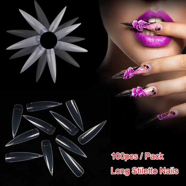 TKGOES 100PCS Long Stiletto Nails Long Sharp False Nail Art Tips Acrylic Salon White Natural Clear Half Tips Option DIY Display