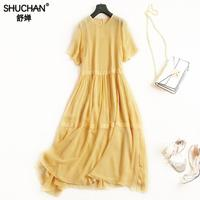 SHUCHAN YELLOWER DRESS NATURAL SILK Loose Solid Mid Calf O Neck New Items Of Women S