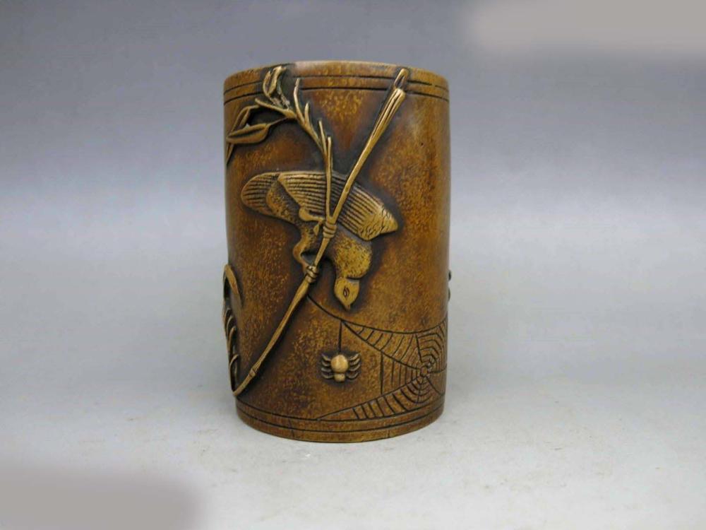 DS Chine en laiton cuivre sculpté Belle araignée oiseau Brosse Pot Statue