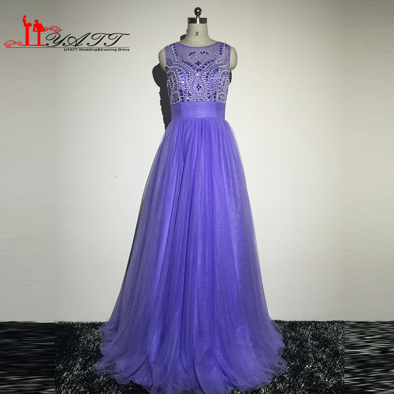 Promotion Cheap Real Picture 2016 New Collection Luxury Crystal Light Purple Colored Puffy Evening Prom Dresses liyatt image