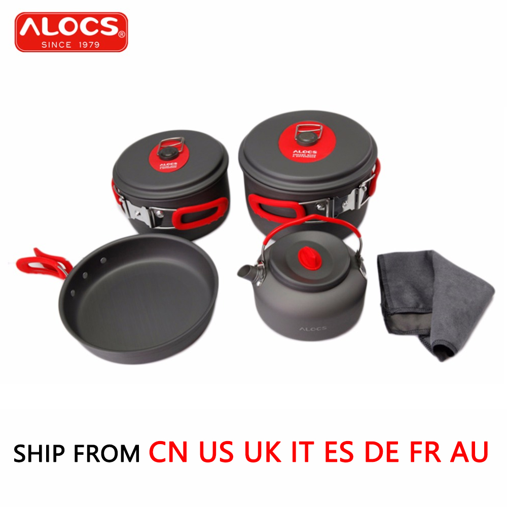 ALOCS 7PCS/Set Outdoor Cookware 3-4 people Pan Kettle Pot Set Beach Camping Picnic Flying Skillet Flambe Pan Cooking Set CW-C06S