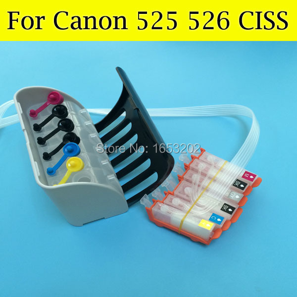 6 Color/Set Ciss System For Canon PGI-525 CLI-526 For Canon MG8150 MG6150 Printer With PGI525 CLI526 ARC Chip 5 color ciss system for canon pgi 550xl cli 551xl pgi550 cli551 550 for canon mg5450 ip7250 7250 printer with arc chip