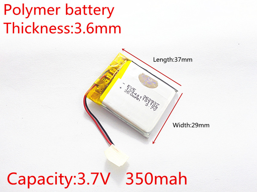 3.7V 350mAh 362937 Polymer Li-ion Battery For bluetooth headset Bracelet Wrist Watch pen PDA MP3 Game Player mouse speaker