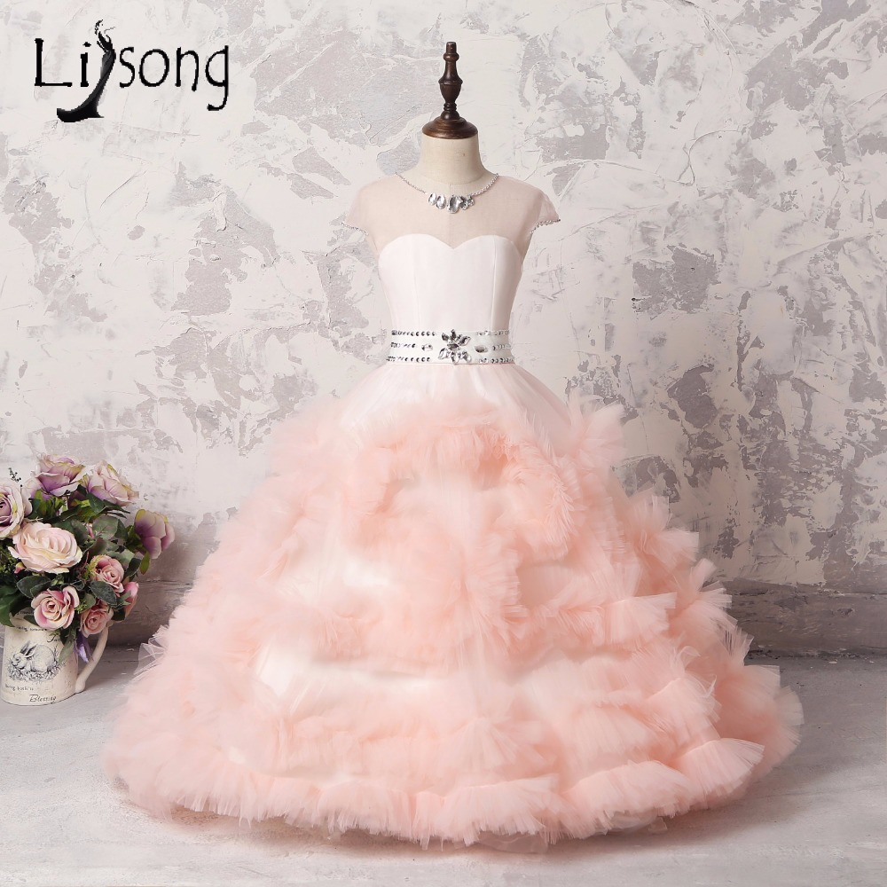 Peach Color Cute Puffy   Flower     Girl     Dresses   With Crystal Ruffles Tiered Floor Length Kids   Dress   Communion   Dresses   Pageant