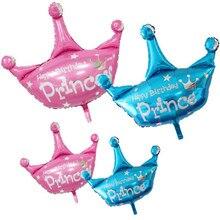 Corona globos de papel de aluminio Rosa princesa azul globo de helio  Inflador Feliz cumpleaños princesa 5a0b308edb7ae