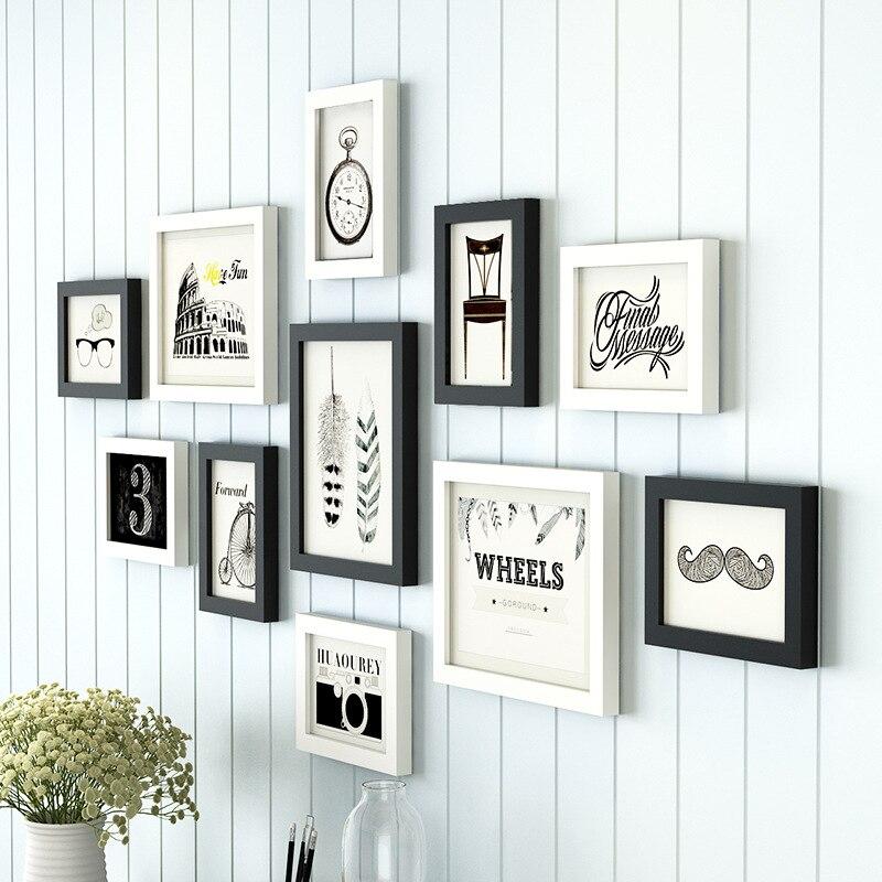 11 sztuk/zestaw prosty czarny/biały wkładka styl drewniane ściany ramka na zdjęcia Home schody wystrój ramki na zdjęcia zestaw wysokiej jakości tanie ramki do zdjęć w Rama od Dom i ogród na  Grupa 1
