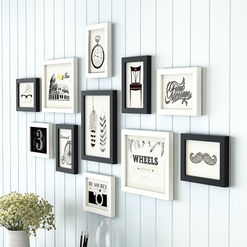 11 teile/satz Einfache Schwarz/Weiß Inset Stil Holz Wand ...