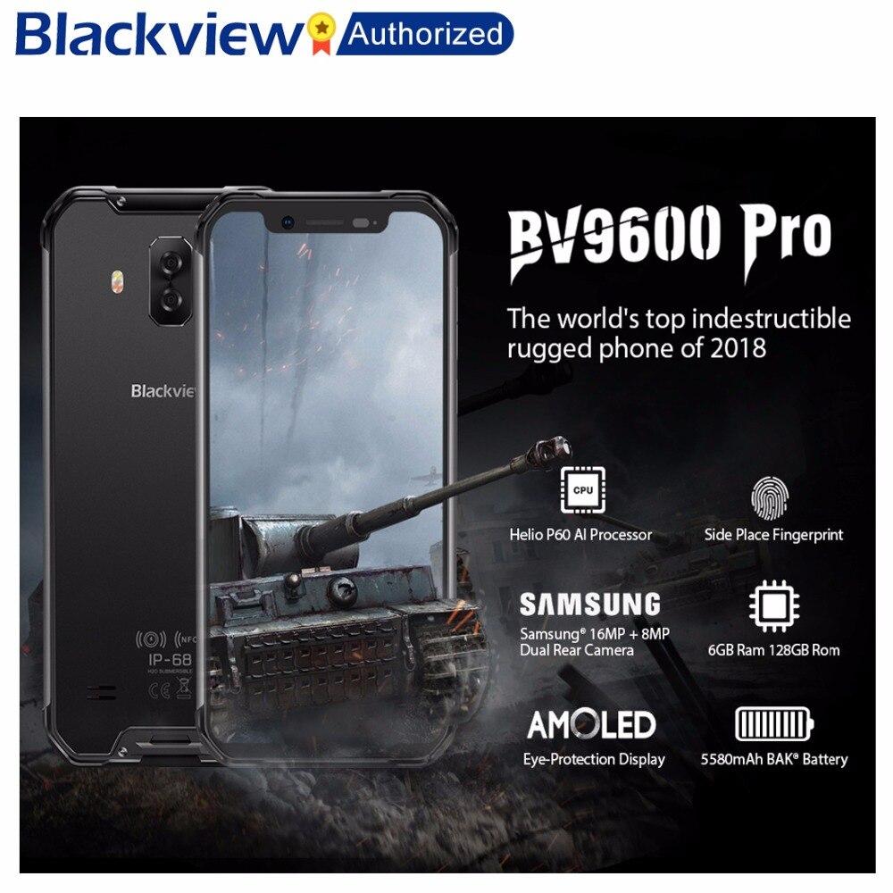 Blackview BV9600 Pro Rugged IP68 Waterproof Helio P60 Global 4G Mobile Phone 6.21inch Smartphone 6GB RAM 128GB MT6771 5580mAh