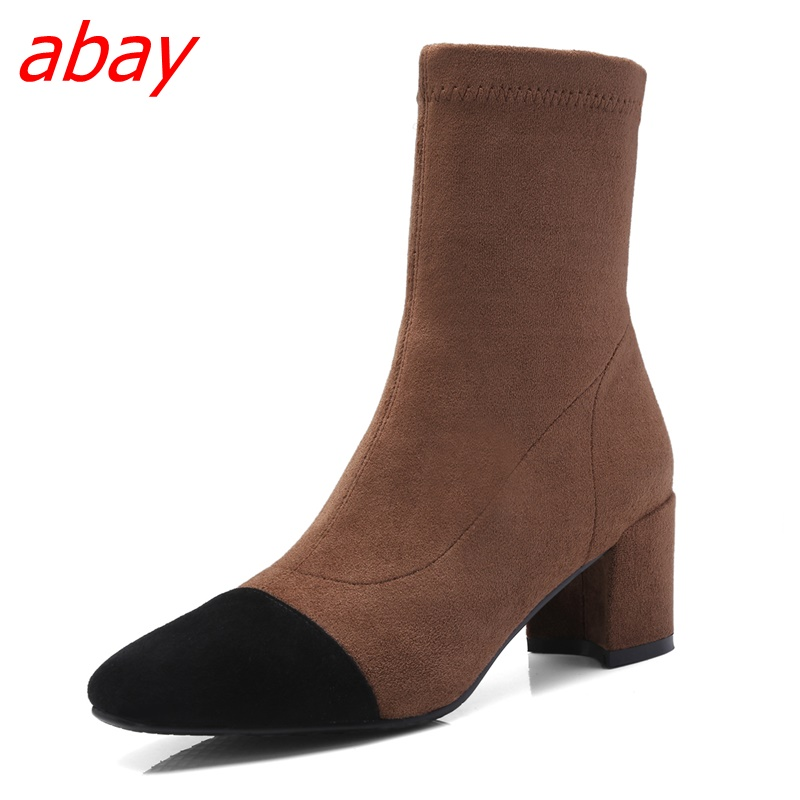 abay Fashion short boots new European and American style temperament square head thick with sheep suede casual shoes цена 2017
