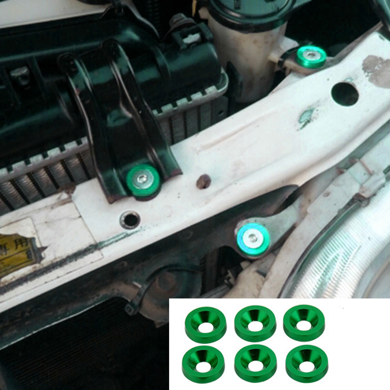 6pcs/set Decorative Motorbike Universal Headlights Bumper Washer Screw Set DIY Car Modification License Plate Gaskets Mini M8