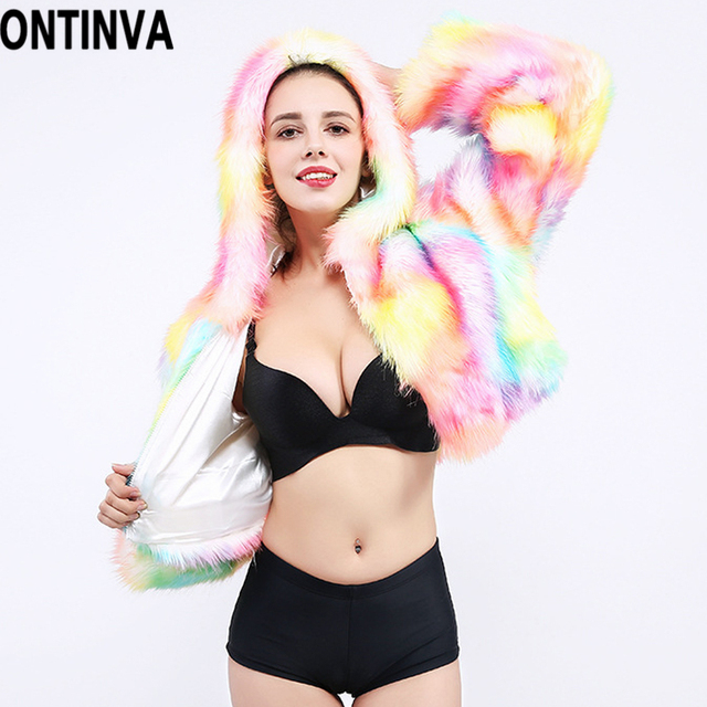 Faux Fur Hooded Coat Jacket Rainbow LED Lights Long Sleeve 2018 Autumn Winter Plus Size 4XL XL Halloween Christmas Party Costume 2