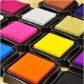 5 unids/lote 15 colores del cojín de tinta para sello de goma papelería almohadilla de tinta de gran tamaño 6 cm * 6 cm alta calidad del envío 1010