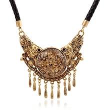 Ethnic Retro Short Clavicle Chain Women Long Tassel Pendant Necklace Zinc Alloy Jewelry acorn shaped silicone chain zinc alloy pendant necklace black copper multi colored